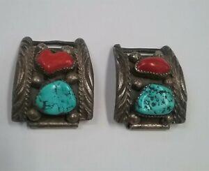Vintage M. Thomas Jr. Silver Turquoise & Coral Watch Bracelet * 17 mm lug