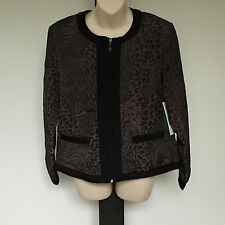 'BLACK PEPPER' BNWT SIZE '8' BROWN & BLACK PRINT LINED JACKET WITH ZIP FRONT