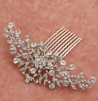 Bridal Wedding Bridesmaid Silver Crystal Hair Clip Comb Head Piece