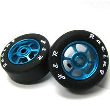 H&R Racing HR1364 6 Spoke 12mm Blue Wheel w/ Silicone Tire (2) 1:24 Slot Car