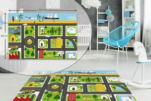 CITY MAP - Kids Play Fun Rug Carpet  -  High Quality , Soft Touch Mat,  Non Slip
