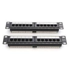 Cat6 12 Port RJ45 Patch Panel Ethernet Network Rack Wall Mounted Bracket Black