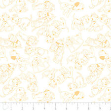 101 Dalmatians Disney Puppies dogs outline Yellow 100% Cotton fabric by the yard