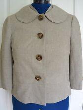 Trina Turk Jacket Blazer 6 S Made in USA Tan Chambray Lined 3/4 Sleeves