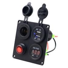 12V Car Motor Dual USB Socket Charger Voltmeter Port Power 4 Hole Panel Switch