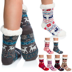 Womens Christmas Fur Lined Socks Nordic Warm Thick Fabric Slip-On Slippers DN