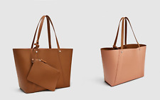 Zara Nude Pink Tan Reversible Tote Bag Shoulder Handbag College SHOPPER Purse