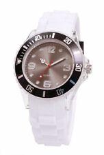Silikon Armbanduhr Damen Kult Trend Gummi Watch weiß / Braun ( F1 )