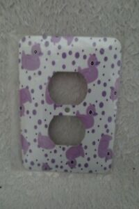 Mulberry Switch Cover Metal Plate Ducks Purple White New