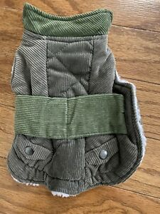 Boots And Barkley XS Corduroy Dogs Gray Green Cape Jacket