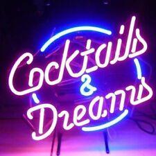 "17""x14""Cocktails&Dreams Neon Sign Light Beer Bar Pub Handmade Real Glass Tube"