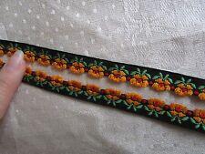 Vintage Embroidered Cotton ribbon gold yellow Black flower trim 4yard unit