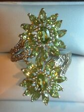 HEBEI PERIDOT, WHITE TOPAZ 5.30 TCW RING IN PLATINUM OVER STERLING SILVER, SZ 10