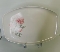 "Melmac Sun-Valley White Platter With Pink Rose. 14"" x 10"". Vintage."