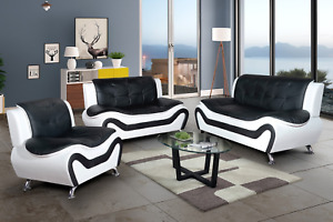 NEW Black White Leather Gel 3PC Sofa Set Contemporary Modern Living Furniture