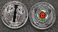 NZ Coloured 50c Coins 2015 ANZAC and 2018 Armistice