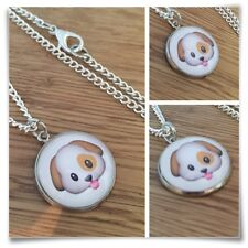 Emoji Puppy Dog Tongue Cute face Charm pendant necklace txt geek