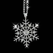 Fashion Silver Frozen Snowflake Crystal Necklace Pendant Chain Christmas Gift