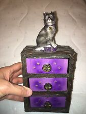 Three Drawer Wolf Box Figurine ~ Distressed Appearance ~ Home Decor ~ Nature