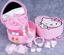 Girls Heart-shaped Hello Kitty  2 Layer Jewelry Box with 10 Pearl Accessories