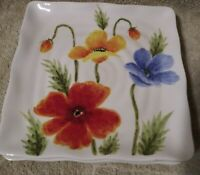 Maxcera Colorful Poppies Square Salad Plates Set Of 3