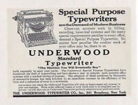 "UNDERWOOD TYPEWRITER Vintage 1909 Standard Model REPRINT  8 X 10"" AD Print"