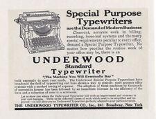 "UNDERWOOD TYPEWRITER Vintage 1909 Standard Model REPRINT  8 X 10"" AD Print"