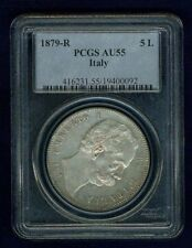 ITALY KINGDOM 1879-R  5 LIRE COIN, ALMOST UNCIRCULATED, PCGS CERTIFIED AU55