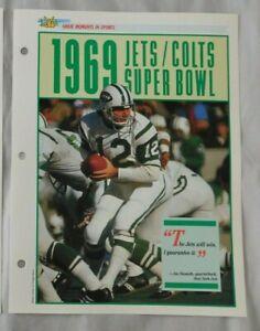Joe Namath New York Jets 1969 Greatest Moments In Sports Sports Heroes Sheet