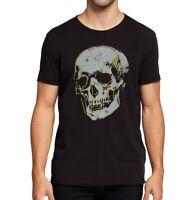 John Varvatos Star USA Men's Large Skull Embroidered Graphic Crew T-Shirt Black