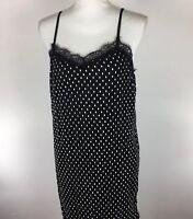 Free People Womens Size 8 Black Polka Dot Pleated Slip Dress Lace Trim. AQ