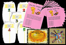 Baby shower games dirty nappies for baby girl with 10 player sheets pink colour