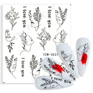 Nail Art Water Decals Stickers Transfers , Abstract Faces Leaves nail Decoration