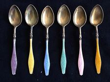 Sterling Enamel Demitasse Spoon Set + Half Set Silver Guilloche By Andersen
