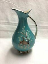 Vintage Waldershof Bavaria Teal Pitcher with Silver Trim