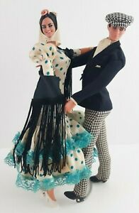 Vintage Marin Chiclana Spanish Flamenco Chotis Madrileño Dance Couple Dolls
