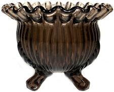 "Vintage Westmoreland Brown Glass 5""d Three Footed Rose Bowl"