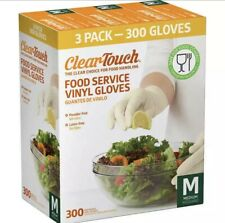 Nw Clear Touch Food Service Vinyl Gloves 3 Pack 300 Total Powder Latex Free Sz M