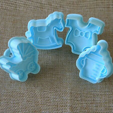 4Pcs Baby Cake Sugar Paste Fondant Decor Sugarcraft Plunger Loaf Cutter Toy BY