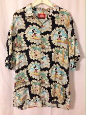 Vintage Reyn Spooner Disney Mickey Mouse Minnie Pluto Surf Hawaiian Shirt Large