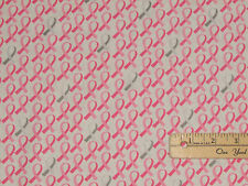 Anything is Possible Pink Ribbon Breast Cancer Fabric by 1/2 Yd  #42142-2