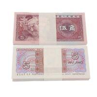100PCS Bundle Lot China Banknotes 5 JIAO UNC 1980 Collections