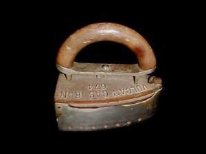 ANTIQUE VULCAN #674 GAS STEAM CAST IRON W.M. CRANE CO. NY. WOOD HANDLE C.1800'S