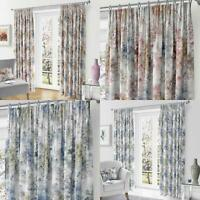"""Woodland Tape Top Curtains Trees Print Ready Made 3"""" Pencil Pleat Curtain Pairs"""