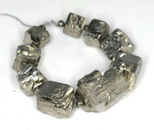 10X9-14X12MM  IRON PYRITE GEMSTONE GRADUATED RUGGED NUGGET CUBE LOOSE BEADS 5""