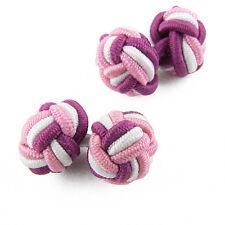 Boutons de manchette Rose Blanc tissu passementerie boule tressée Pink silk knot