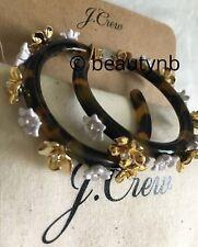 Nwt J Crew Flower Clock Hoop Tortoise Earrings -Srp $59.50