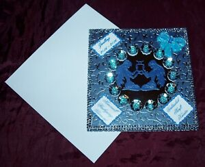 Glückwunschkarte Grußkarte zum  Geburtstag Sternzeichen Zwilling Blau Silber