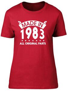 Made in 1983, All Original Parts Birthday Womens Ladies Short Sleeve T-Shirt