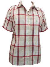 Womens Plus Size 36/38 40 Gingham check Shirt Cotton Ladies Beige Blouse 256